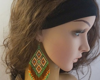 Native beaded earrings tribal style southwestern large earrings seed bead earrings amber earrings boho beaded earrings native american style
