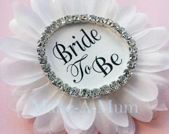 Bridal Shower Corsage, Bridal shower favors, wedding gift, Bride to be, Bride Badge,Team Bride,Wedding Party, WHITE/BTB/DIAMONDS