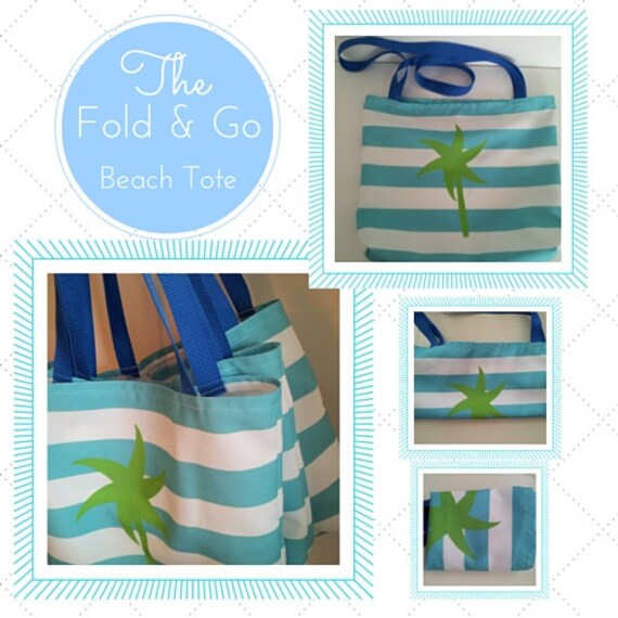 Fold & Go Beach Tote Bag - Preppy Palm Stripes Seafoam Kiwi Beach Bag, Eco Canvas, Ready to Ship