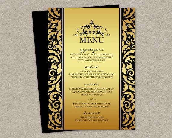 Elegant Wedding Or Christmas Dinner Party Menu Cards In Gold