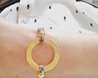 """Strap to tie in brass and fabric liberty / ring starry plating 24K Gold / cord liberty of london / spring / model """"Galinette"""""""