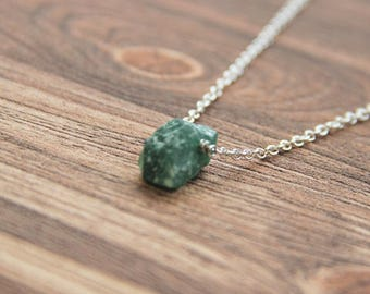 Green aventurine necklace on a chain, heart chakra, luck energy stone