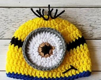 Crochet Minion Hat, Minion Hat, Baby Minion Hat, Child Minion Hat, Adult Minion Hat