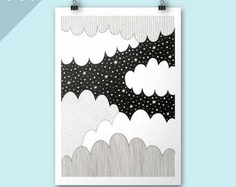 Cloudy Night print / Clouds A4 print / Art print / Illustration / Contemporary art / Nursery art / children bedroom / poster print