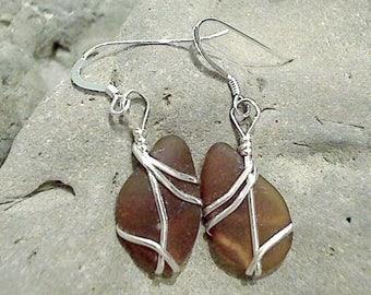 Brown Sea Glass & Sterling Silver Earrings