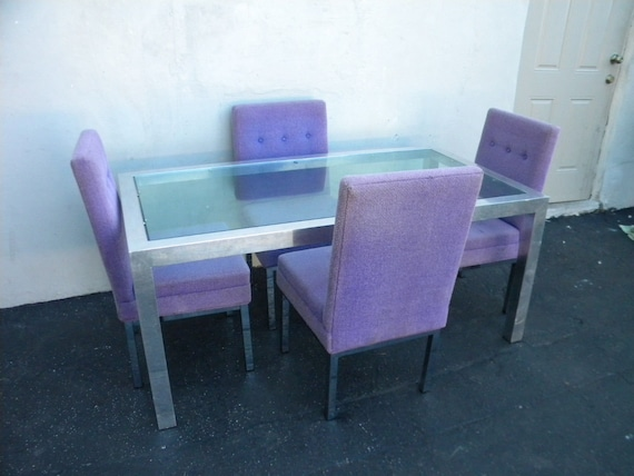 Mid Century Modern Glass Top Dining Table With Chairs By - Mid century modern glass top dining table