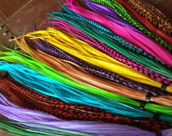 Feather Hair Extensions Rainbow Feathers, Solid And Grizzly Fashion Colors, 15 Long Feather Extensions ALL DYED Colorful Party Pack
