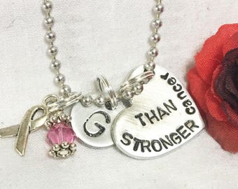 Stronger than cancer,  hand stamped cancer support necklace, support gift for woman, mother, sister, daughter, friend.