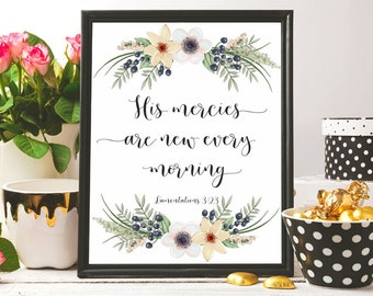Bible verse wall art Print and mail Lamentations 3:23 Floral Christian wall decor Christian art printable Scripture wall art Christian gifts