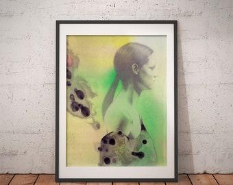 Fashion Girl · Art Print · Art Giclée Print · Wall Art · Watercolor Art · Graphite Art · Abstract Art · Figurative Art ·