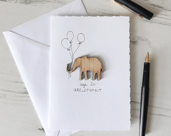 Elephant Birthday Card, 30th Birthday Card, 50th Birthday Card, Birthday Card for Mum, Birthday Card for Dad, AGE IS IRRELEPHANT