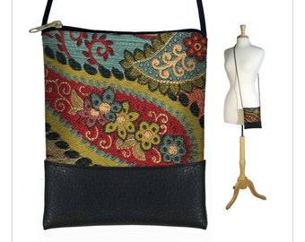 Small Cross body purse, Bohemian Shoulder Bag,  Boho sling bag, Hipster Tapestry Bag  Paisley Handmade Handbag red blue gold black  RTS