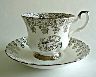 Royal Albert Tea Cup and Saucer Wedding Anniversary Vintage Teacup Silver Floral