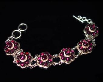 Garnet Flowers Silver Bracelet