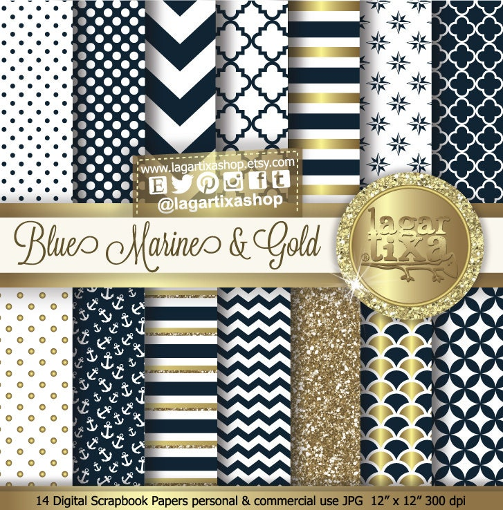 Digital Papel Navy and Gold Marine Background Nautical Blue