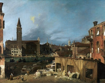 Canaletto: The Stonemason's Yard. Fine Art Print/Poster. (003451)