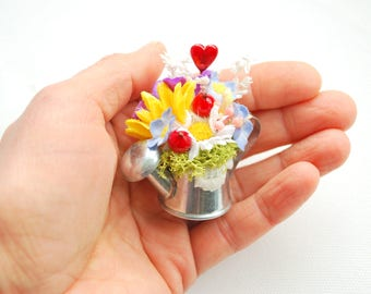 Watering Can Flowers Grooms Boutonniere, Summer Farm Country Wedding Accessories, Flowers Groomsmen Boutonniere, Forget Me Not, Sunflowers