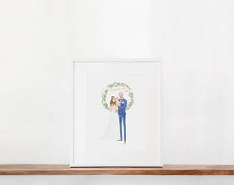 Custom Couple Illustration Olive Leaf Wreath Wedding Engagement Anniversary Gift Idea