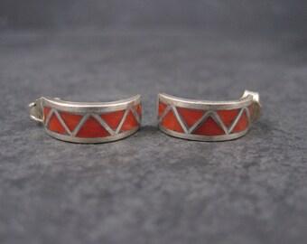 Vintage Zuni Coral Inlay Half Hoop Earrings