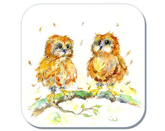 You're a Hoot - Owl Coaster, Bird Coaster (Corked Back). From an original Sheila Gill Watercolour Painting
