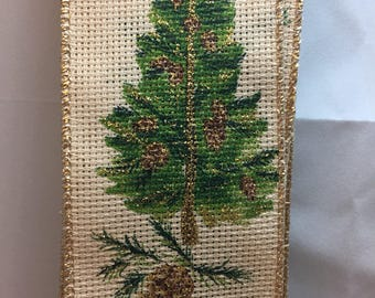 Shimmery Gold Pine Tree Wired Ribbon from Germany