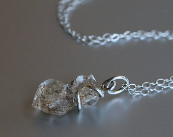Herkimer Diamond Necklace, Raw Crystal, Prong Set Necklace, Healing Stone, Sterling Silver, Jewelry Gift For Her