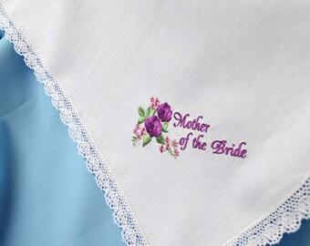 Mother of the bride handkerchief Wedding gift for mom from daughter gift for mother of the bride gift wedding handkerchief for mom