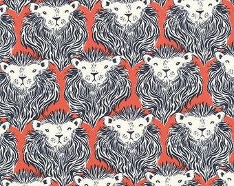 Coral patchwork with lions, RJR Fabric August Prevails fabric