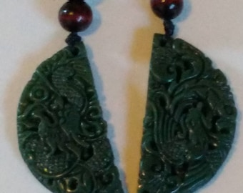 2 All natural hand carved very old Jade dragon amulets, with adjustable necklace.