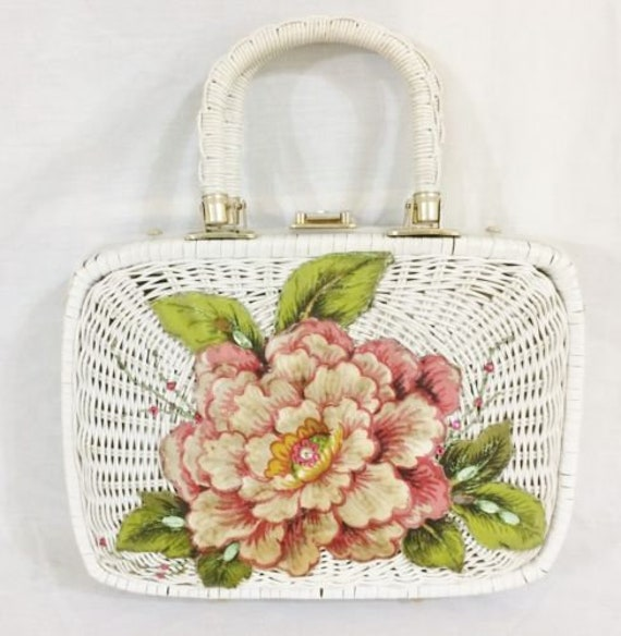 Most Charming White Wicker Bag with Rose Applique