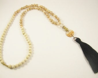 Black Tassel and Freshwater Pearl Necklace
