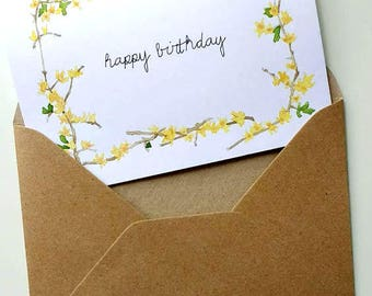 Floral Greetings Card, Birthday Card Hand Painted Watercolour,