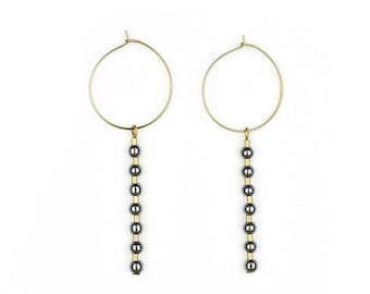 Brass hoops with Hematite-Zoe