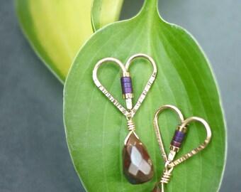 Minimal Gold Fill Heart Stud/Post Drop Earrings with Bloodstone Teardrop