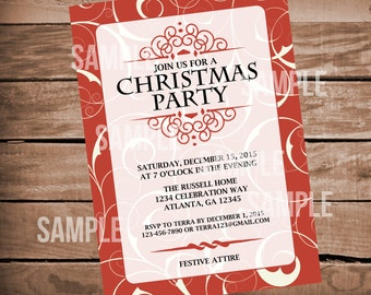 Elegant Christmas Party Invitation- Holiday Party- Red, Burgandy, Classic