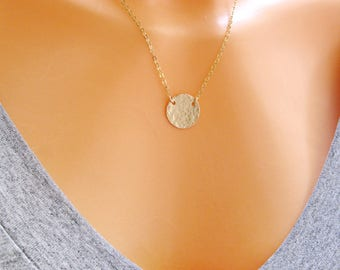 Disc necklace, Personalized necklace, cklace, Gold Filled necklace, Minimalist necklace,