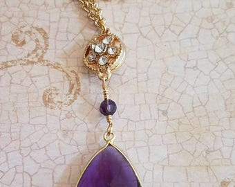 Ippollita Pendant, Purple Pendant, Purple Station Necklace, Station Necklace, Quartz Necklace