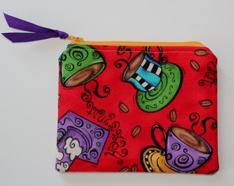Small Zipper Pouch Purse Coffee Cups