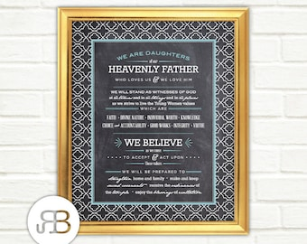 LDS Young Women Theme - Chalkboard Printable Posters / Handouts: 5x7, 8x10, 11x14 and 16x20 - JPEG Digital Instant Download