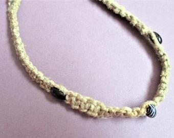 Macrame Beaded Choker Boho Necklace Black and White Beads Vintage Jewelry 1970's Fashion Handmade Vintage Macrame Beaded Necklace
