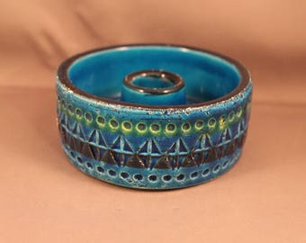 1950's / 1960's round Candleholder Candle Holder Design Aldo Londi for Bitossi, Italy, Rimini Blu rune pattern pottery Mid Century