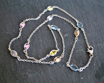 STERLING SILVER NECKLACE ....with multicolor cubic zirconia.