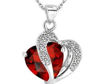 Women Heart Crystal Rhinestone Silver Chain Necklace