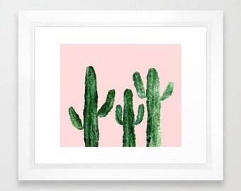 Pink Cactus Print, cactus wall art, pink wall art, cactus painting, pink cactus art, pink cactus print, cactus art print, blush pink print