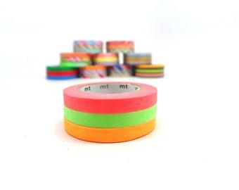 MT Neon Washi Tape Set Pattern I, Slim Washi Tape Set