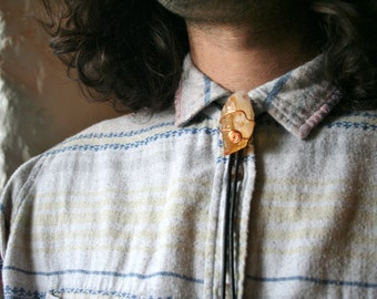 Citrine Crystal Bolo Tie with either Genuine or Faux Leather Cord