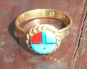 14K Gold Zuni Turquoise and Coral Sun Ring Size 9 Womens Ring