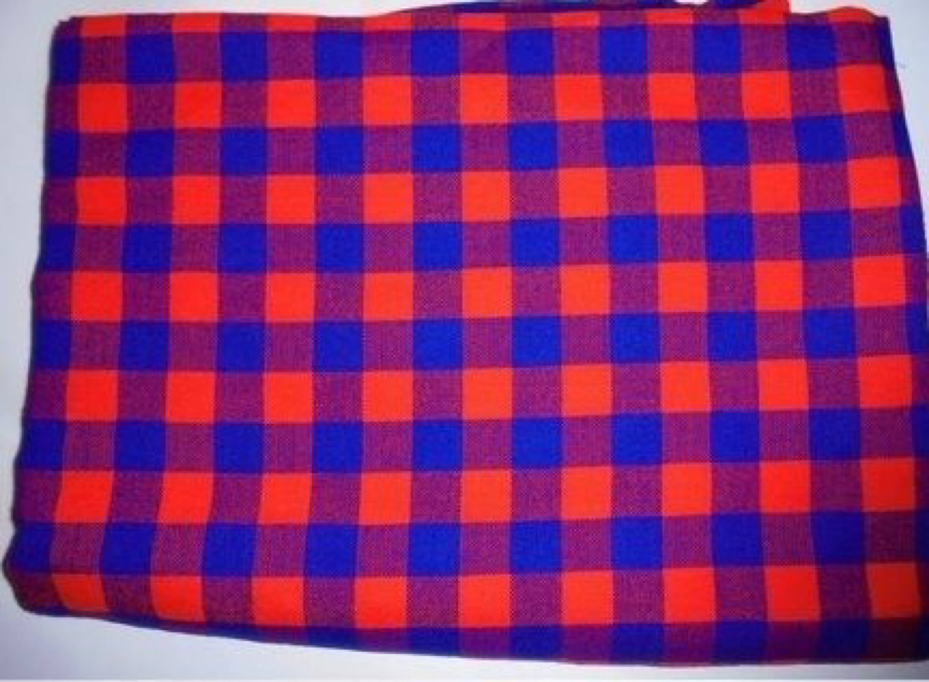 African fabric /masai print/Blue red fabric / red maasai