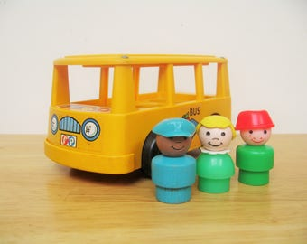 Vintage Fisher Price Minibus and Passengers
