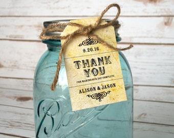 Vintage Thank You hang tags, custom wedding hang tags for Ball mason canning jar favors, 12 rustic cottage chic paper hang tags